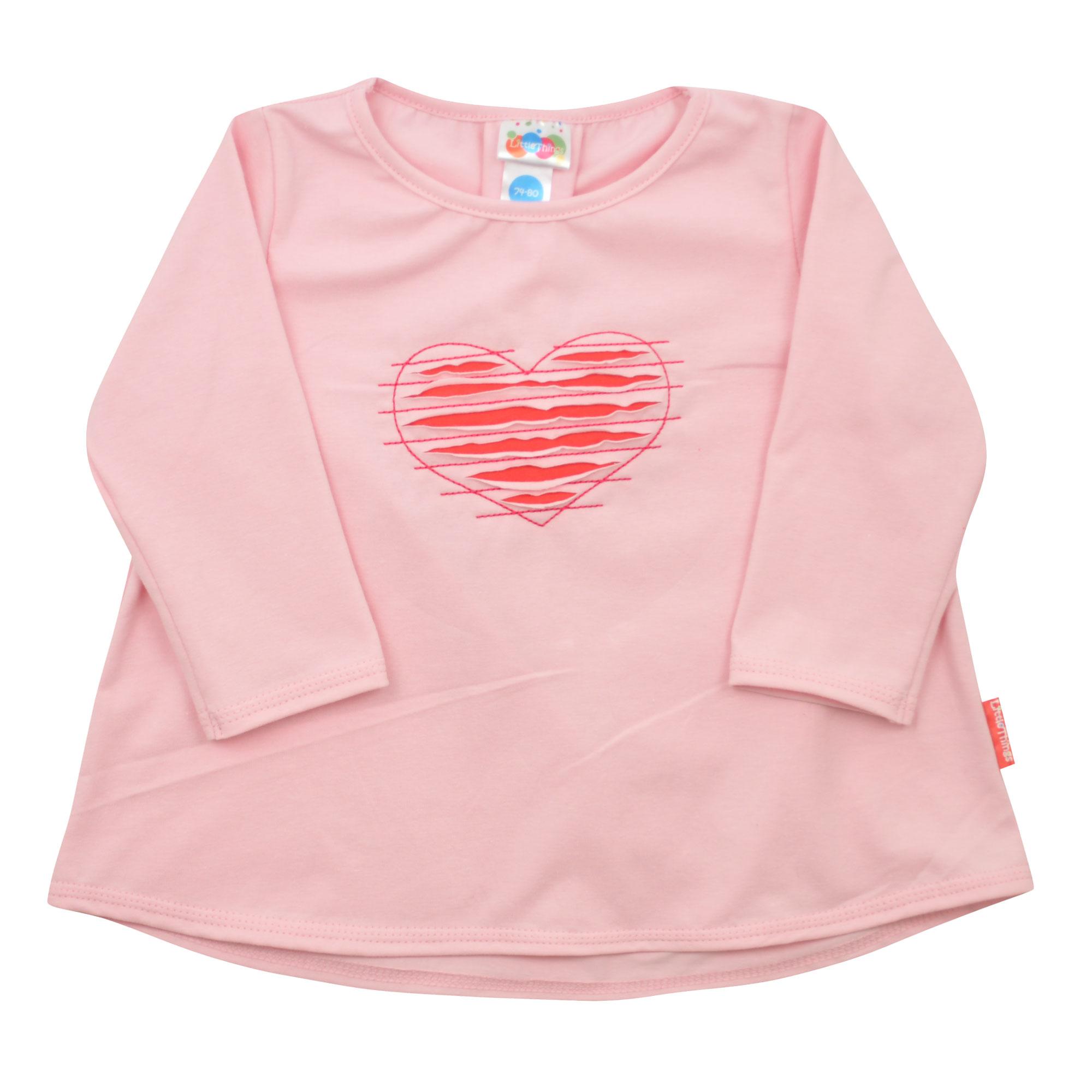 dívčí růžová tunika se srdíčkem  785a8f2136
