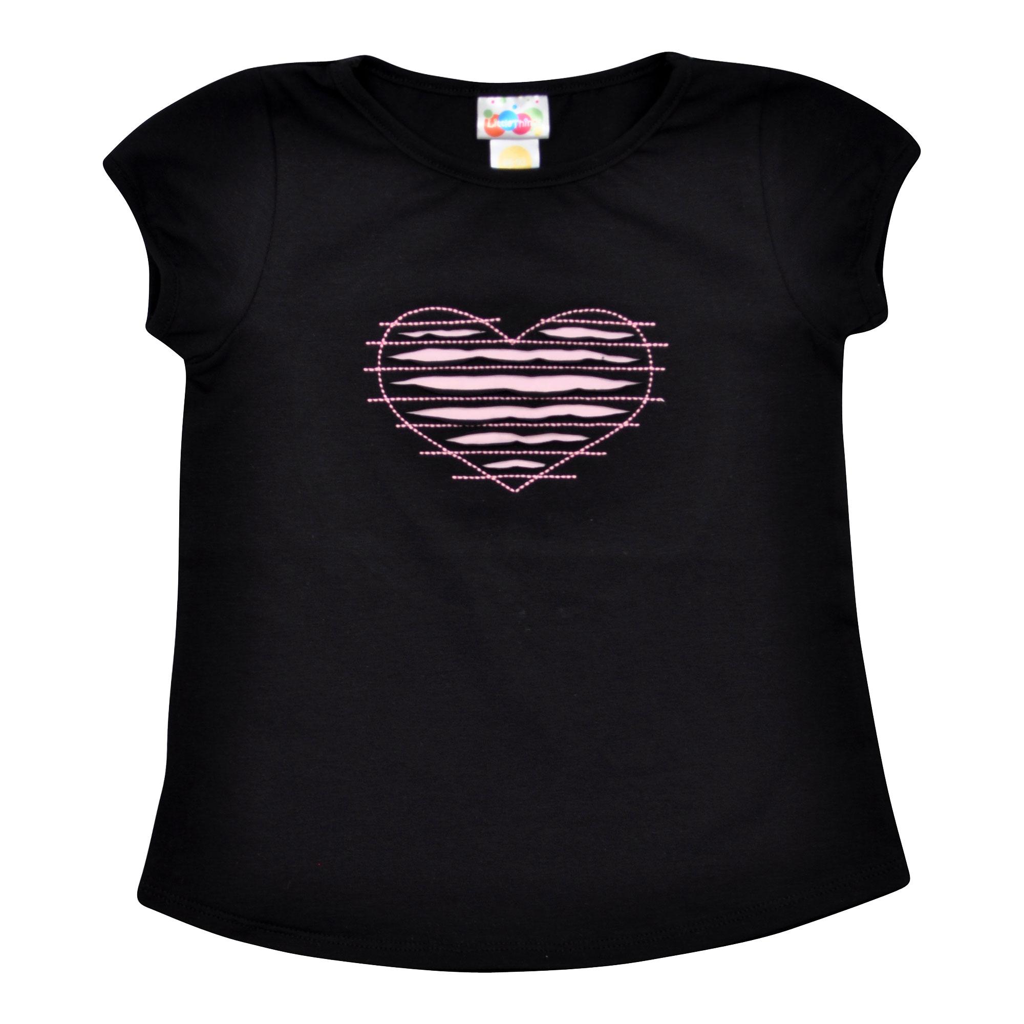 holčičí černé tričko se srdíčkem  f7969a89ed