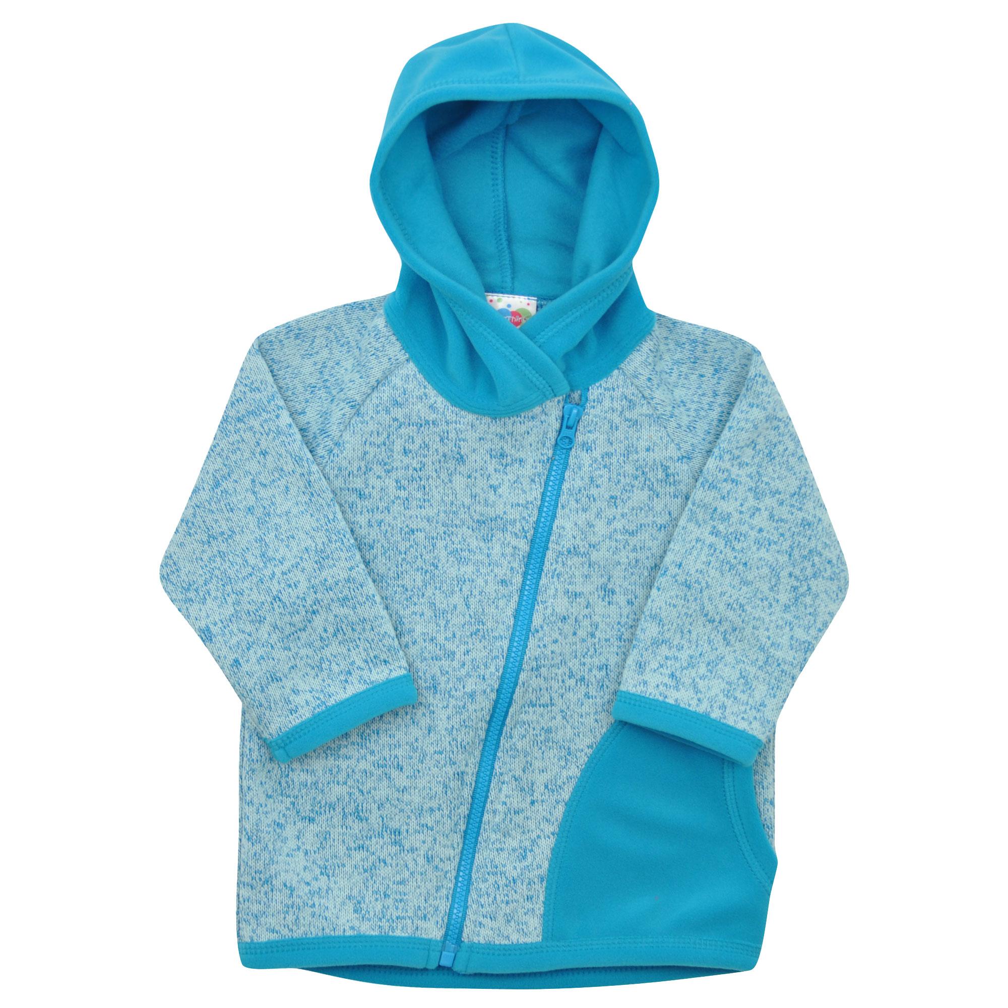 modrá svetrovinová bundička s kapucí  70f48e8442