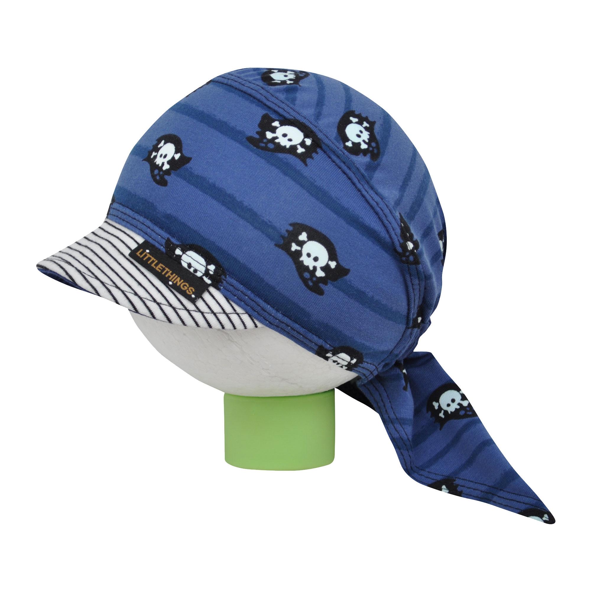 603fe54a690 modrý pirátský šátek na hlavu s lebkami