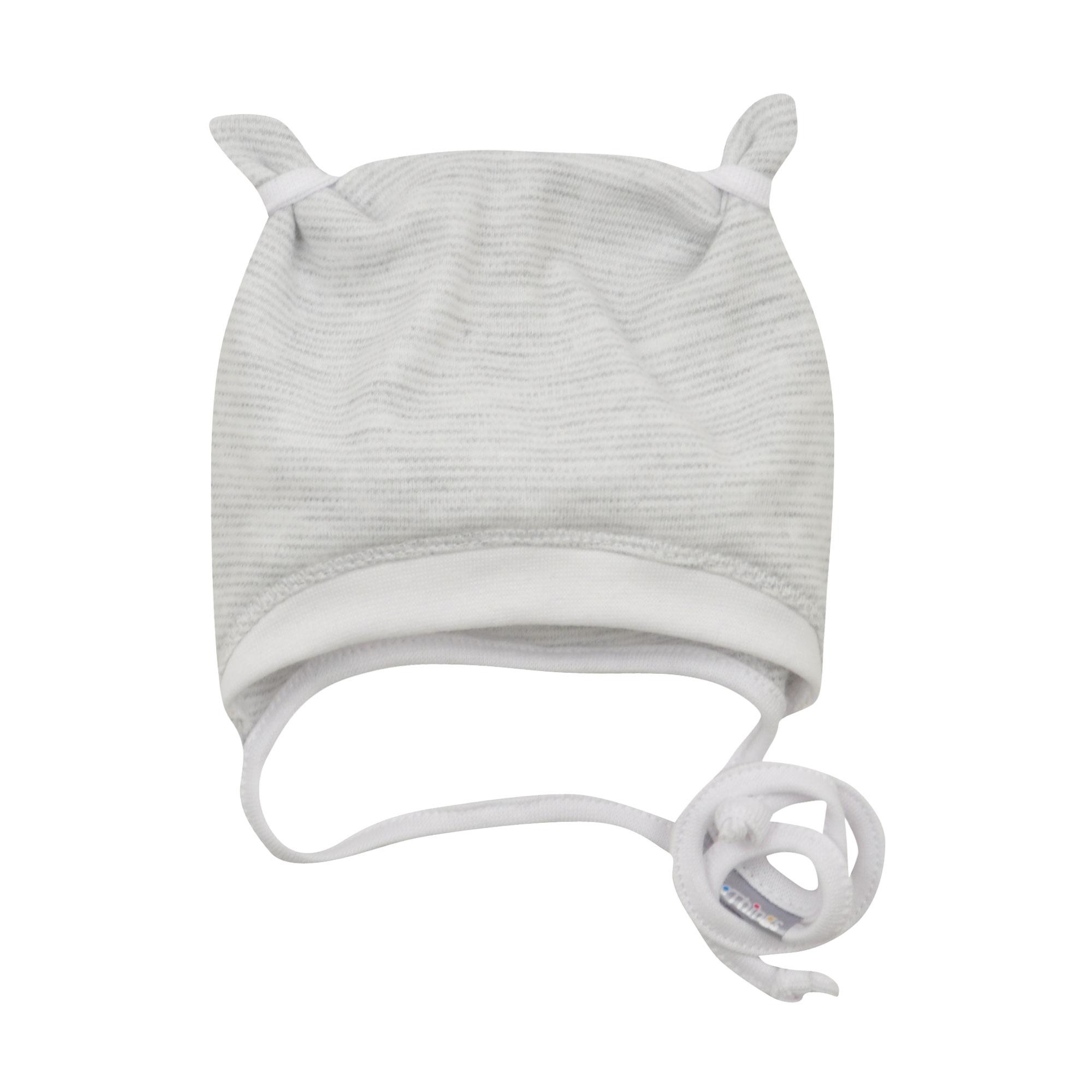 24e0b94d8ac šedá bavlněná kojenecká čepička s oušky