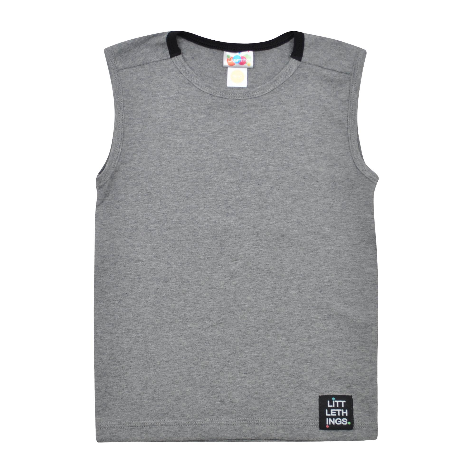 šedé bavlněné tričko bez rukávů  4cbcbc5c54