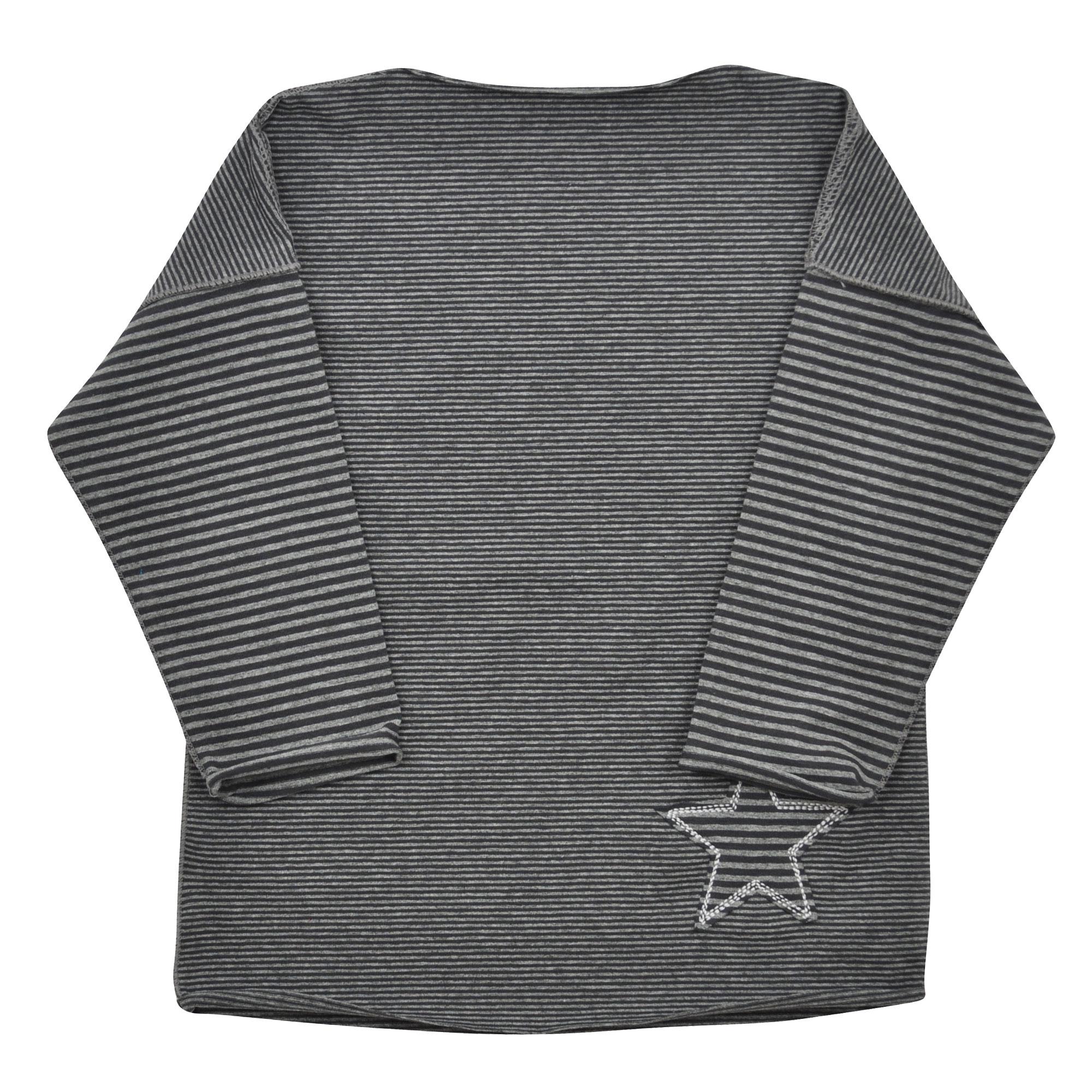 šedé pruhované tričko s dlouhým rukávem  1435665814