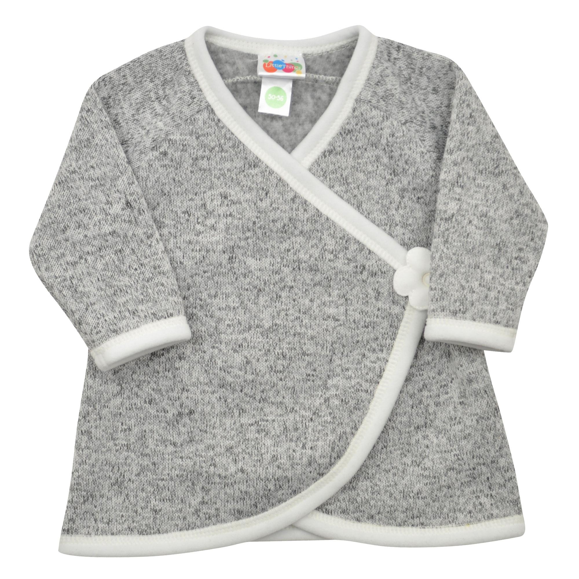 šedý svetrovinový kabátek s kytičkou  58a1824ece