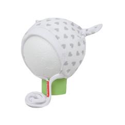 bílo-šedá srdíčkovaná čepička s oušky na tkaničku 97f7011d64