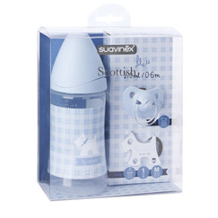 modrý set Scottish - lahev 270ml + dudlík 0-6m + klip